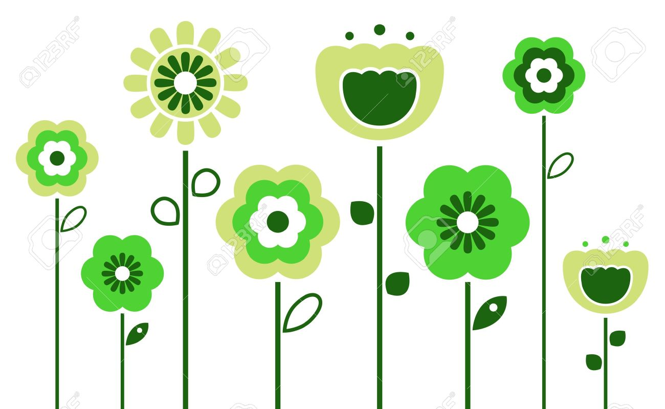 Stylized abstract green flowers. Vector - 12838967