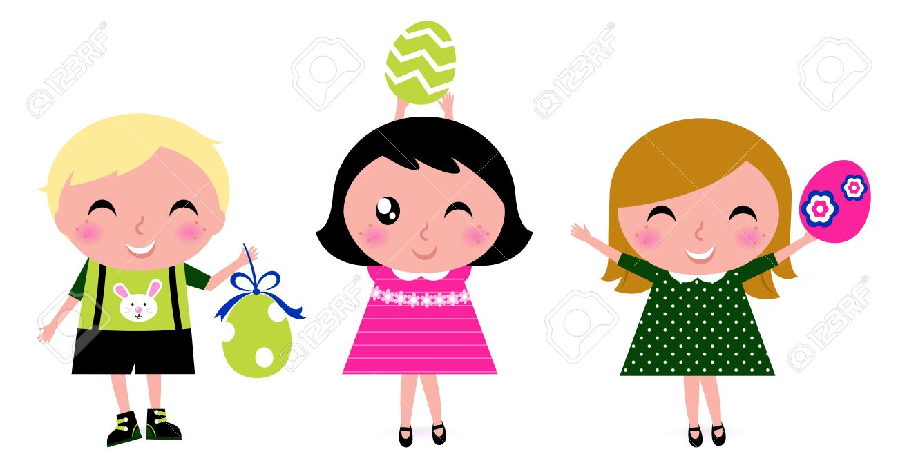 happy easter kids with eggs vector cartoon royalty free cliparts