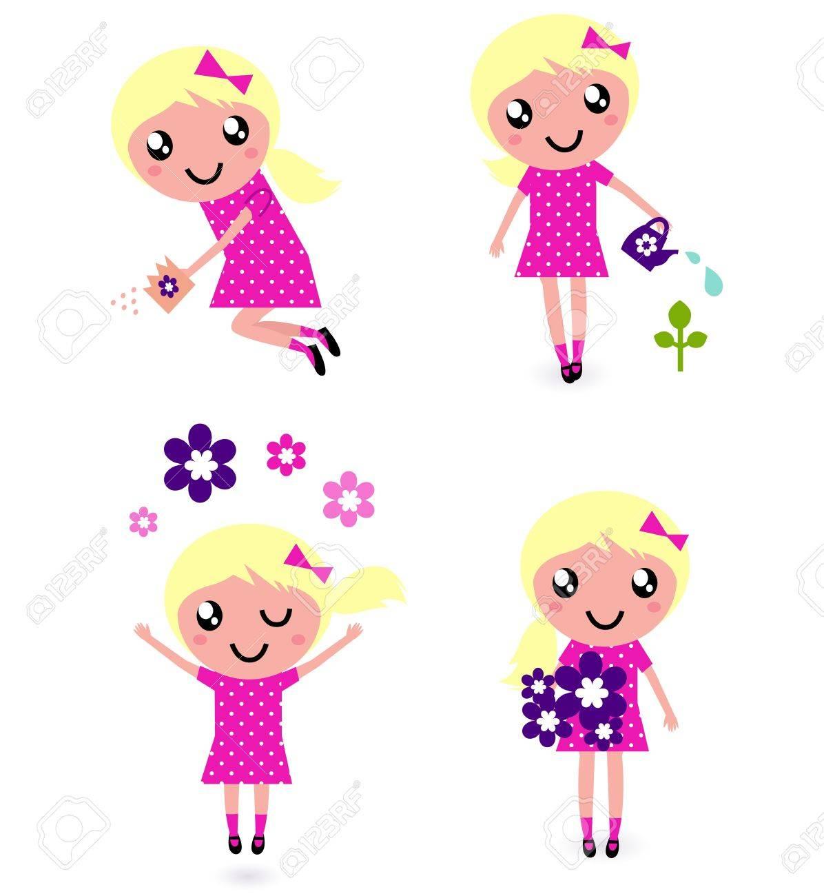 Little gardener Girl. Vector illustration in retro style Stock Vector - 12839053