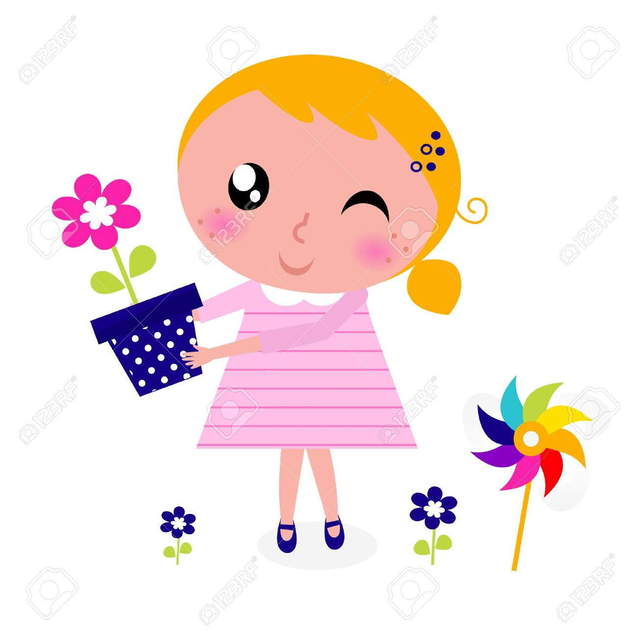 little cute child holding flower vector cartoon royalty free rh 123rf com  clipart of a girl holding flowers