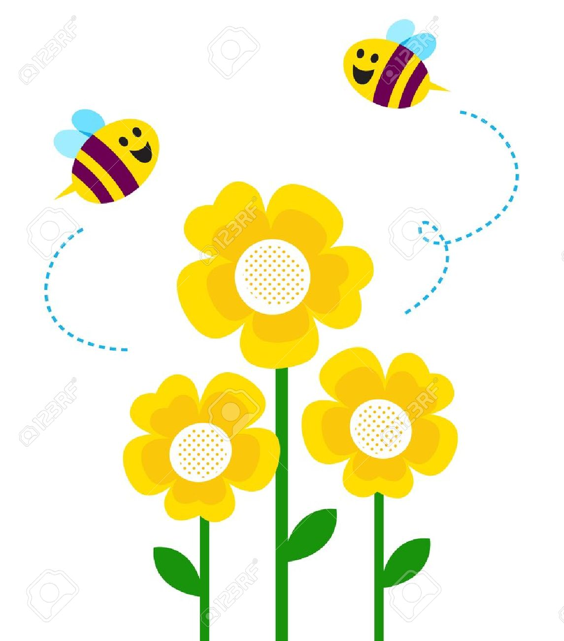 Bees and yellow flowers. Vector cartoon Stock Vector - 12839209