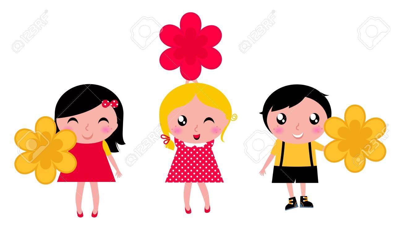 Cute children holding flower. Vector cartoon illustration Stock Vector - 12839208