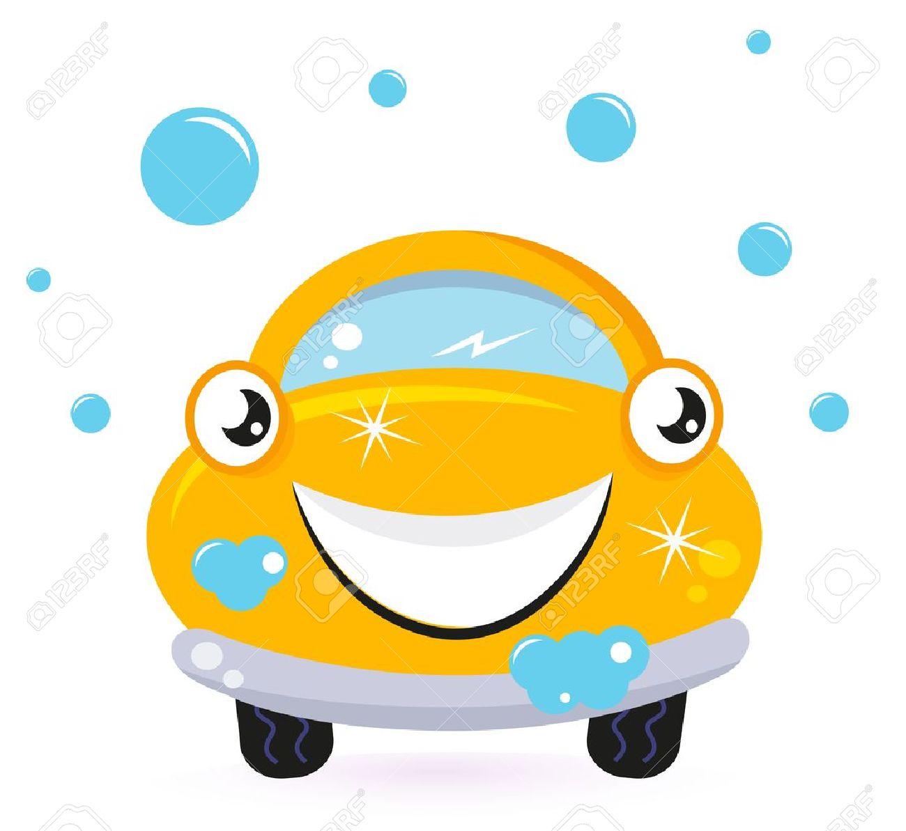 Car wash services, yellow cartoon auto. Vector Stock Vector - 13044103