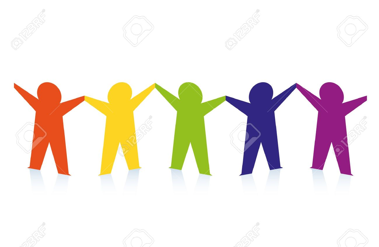 diverse row of paper people holding hands vector royalty free rh 123rf com Hands Holding Globe Clip Art Graphics of People Holding Hands
