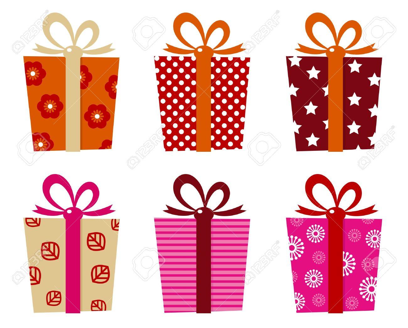 Conjunto De Cajas De Regalo Con Dibujos Para El Cumpleaños Navidad