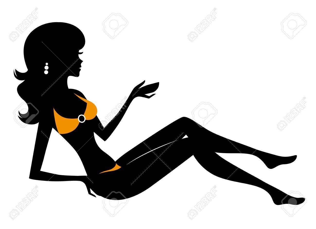 Woman in bikini silhouette. Stock Vector - 13821412
