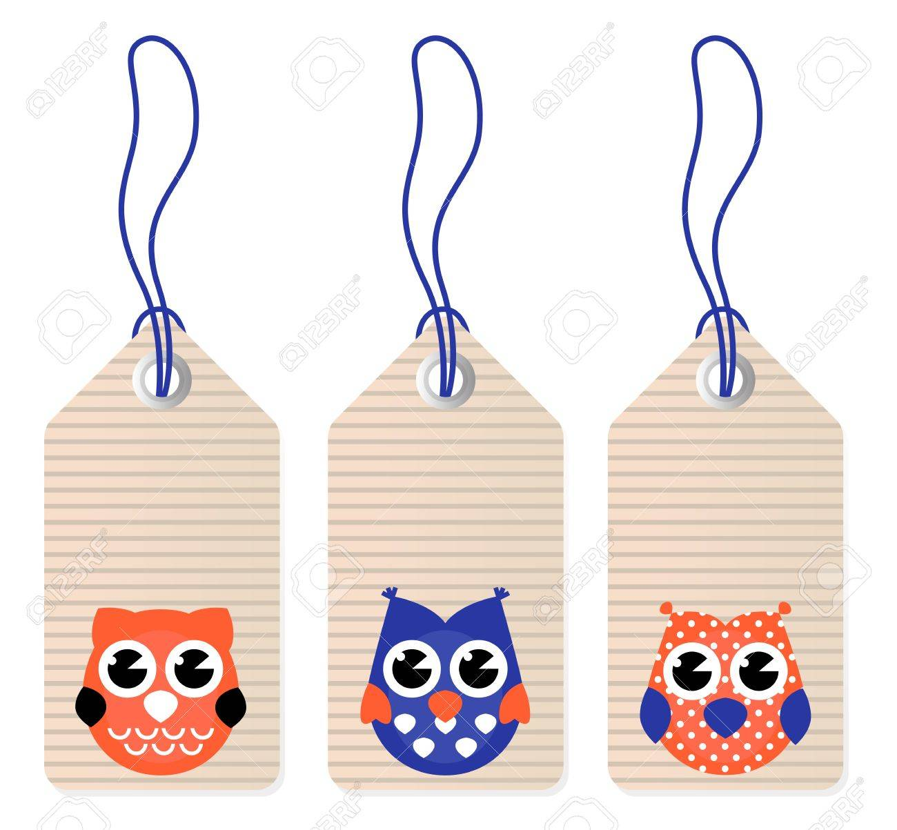 Halloween owl tags isolated on white Stock Vector - 14038523