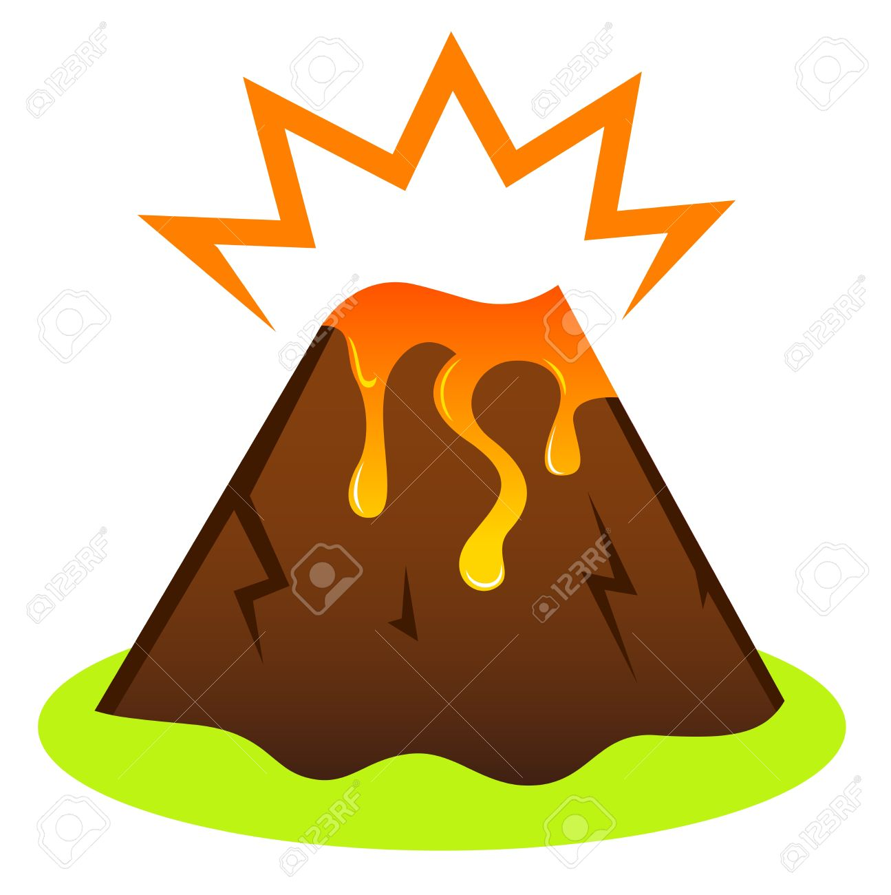 Island volcano with lava icon isolated on white Stock Vector - 14583418