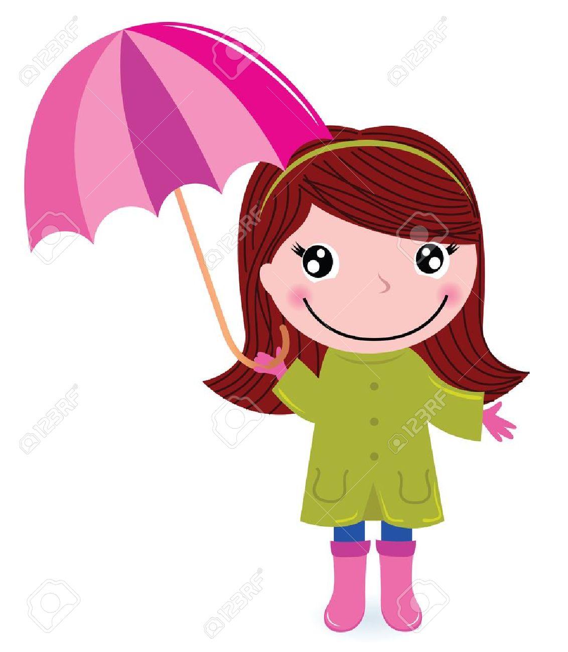 bottes de pluie Enfant d automne avec umrella Illustration de dessin animé vecteur