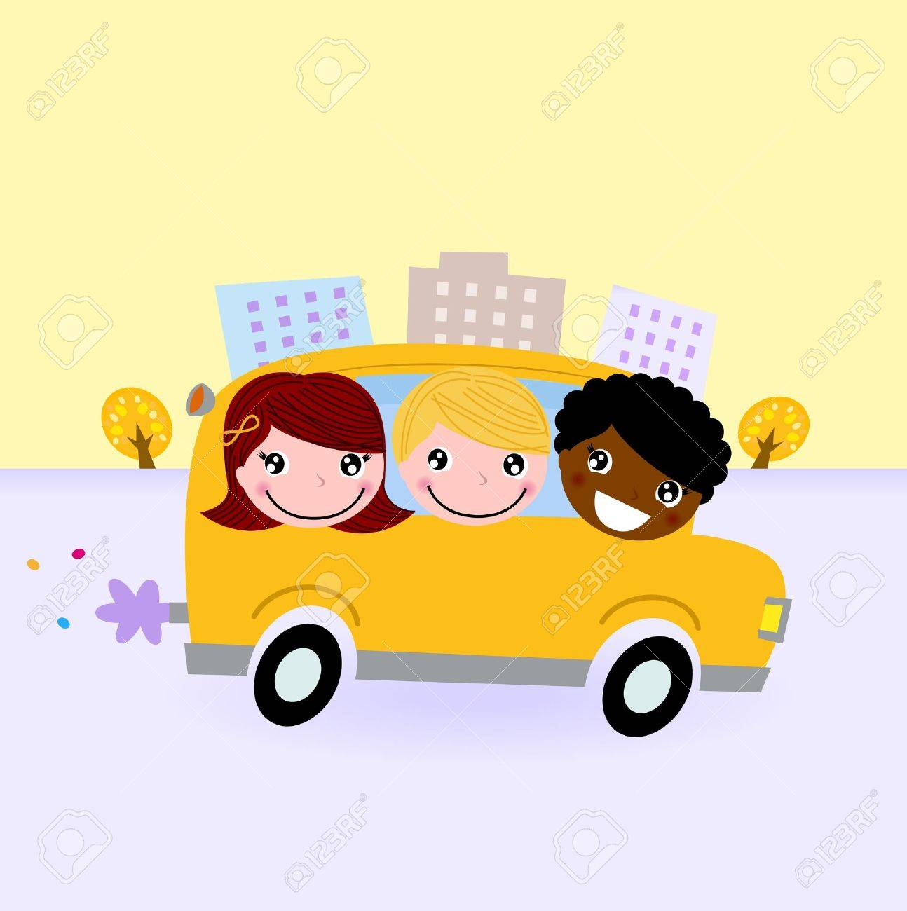 Happy kids traveling with School bus. Vector Illustration Stock Vector - 15046696