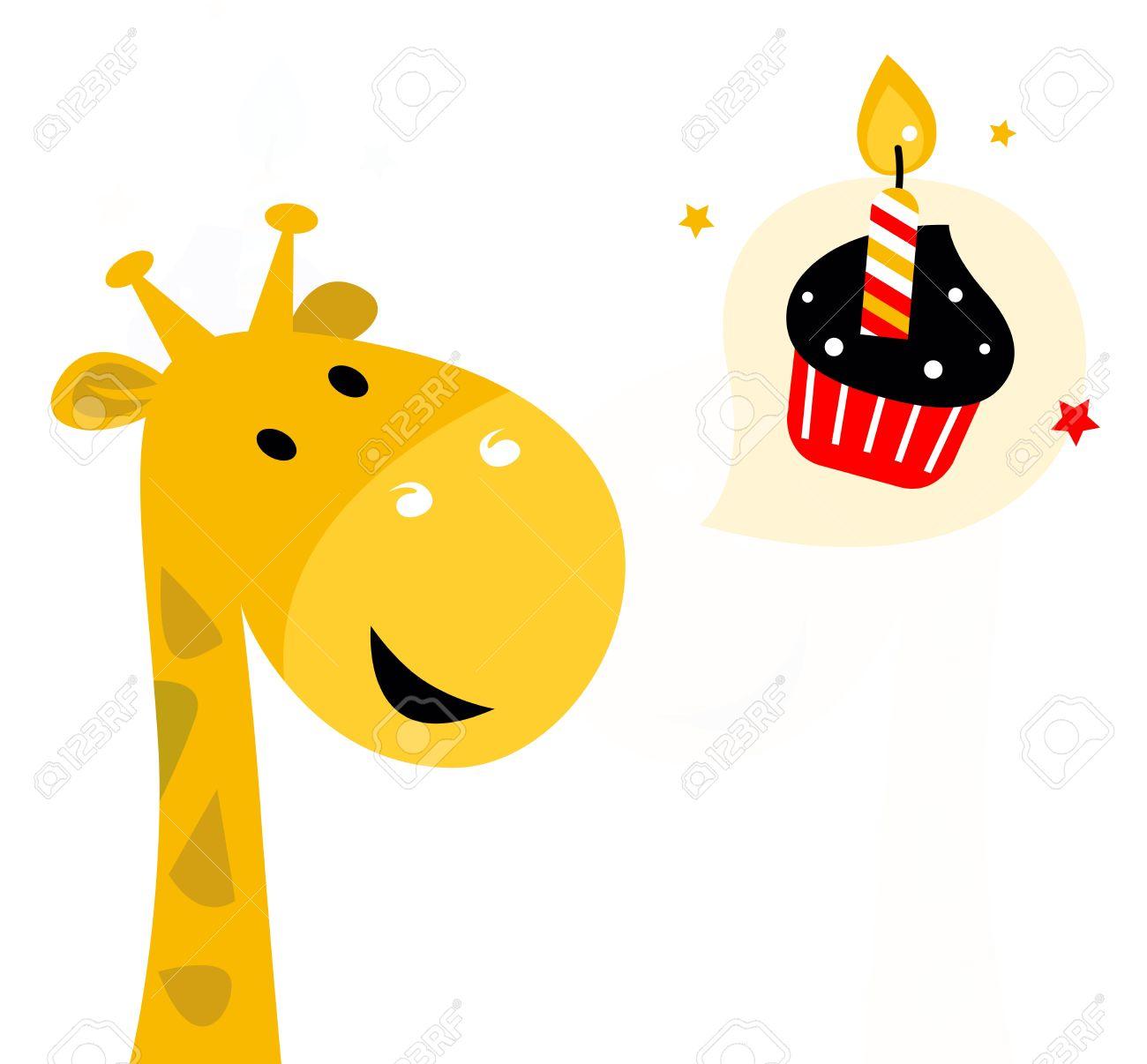 Giraffe with birthday cupcake cartoon Illustration Stock Vector - 15120545