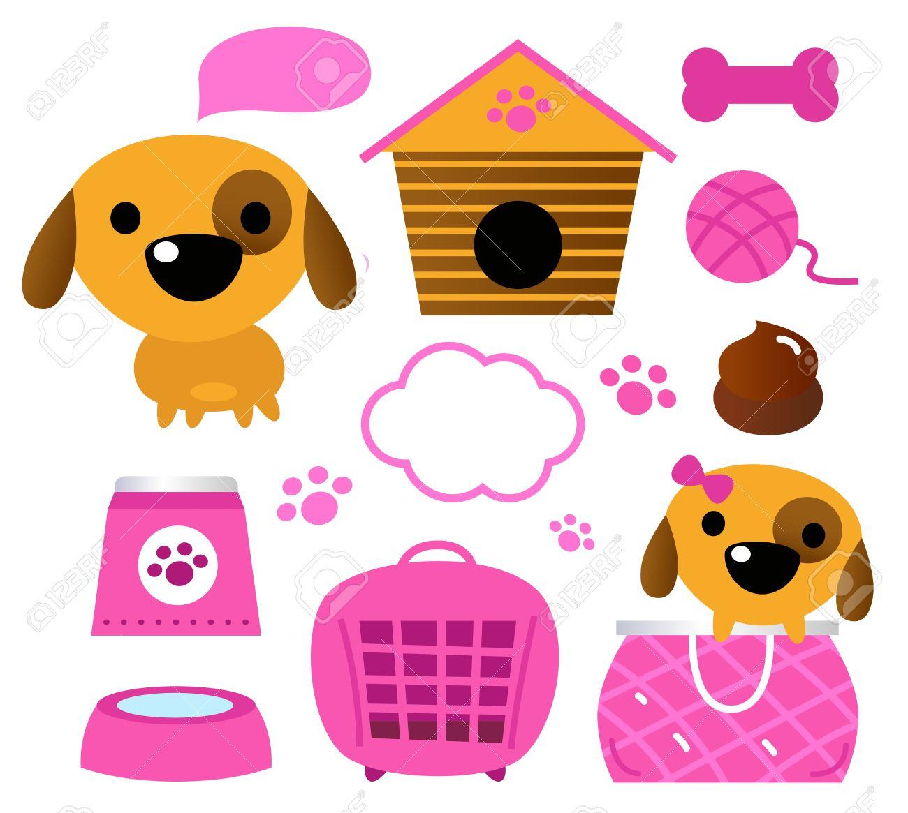 Cartoon pink set for baby dog Illustration Stock Vector - 15171692