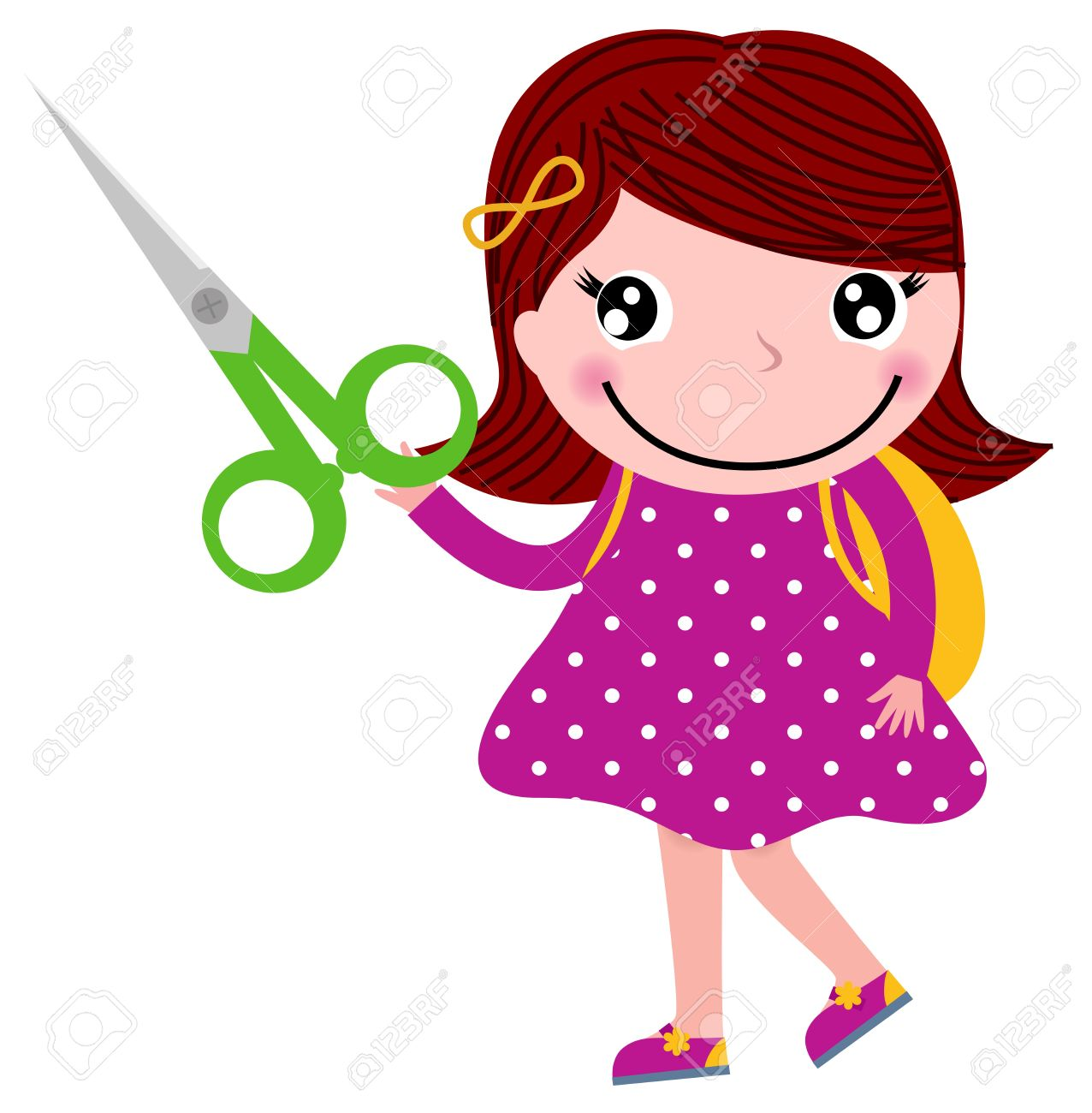 Cute Happy Child With Shears Cartoon Illustration