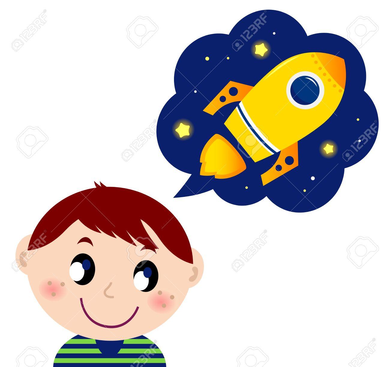 かわいい男の子が新しい宇宙船を夢見てします漫画イラストのイラスト