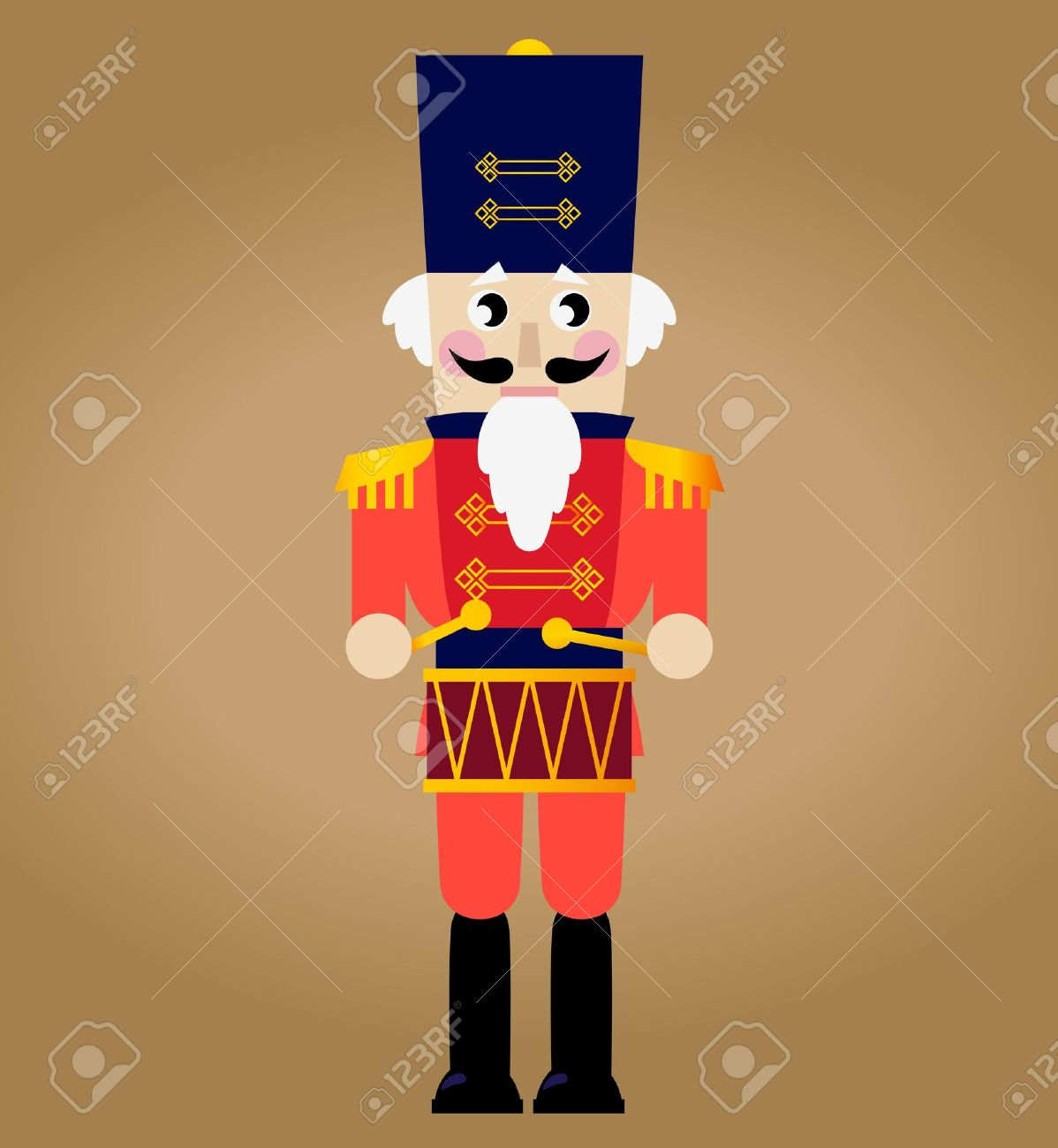 Tin soldier or Nutcracker with drum. Stock Vector - 16329897