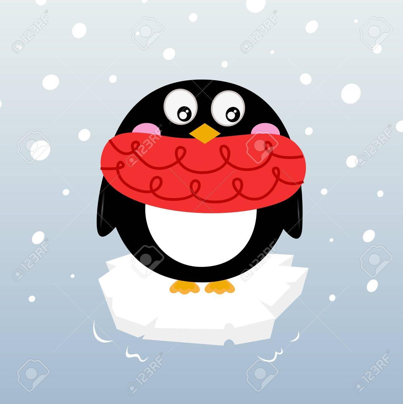 Cartoon winter penguin. Vector illustration Stock Vector - 16562416