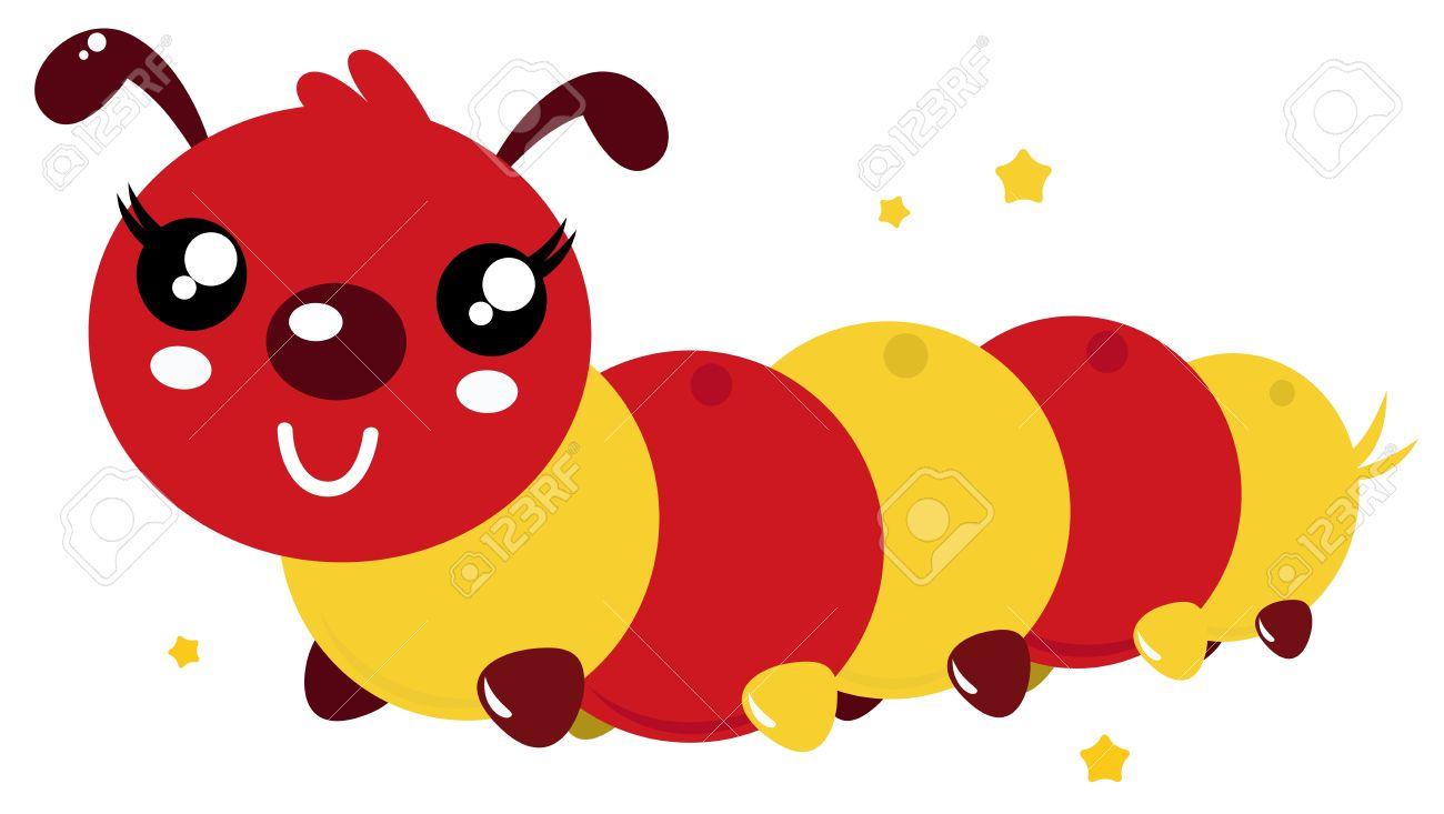 Red An Orange Caterpillar Vector Cartoon Illustration Royalty