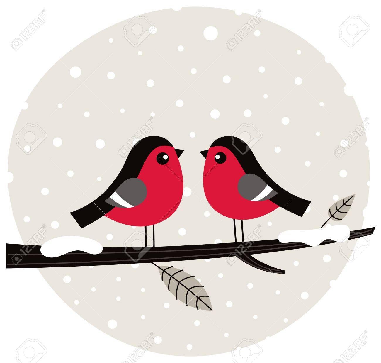 Cute birds on snowing background. Vector Illustration Stock Vector - 17388865