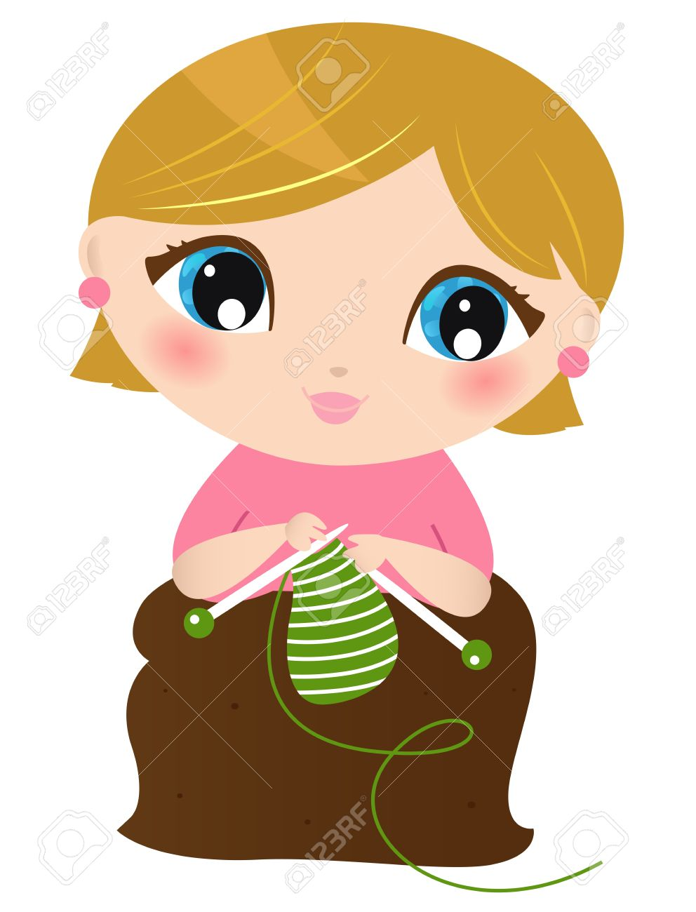 Young stylish Woman knitting. Stock Vector - 17559910