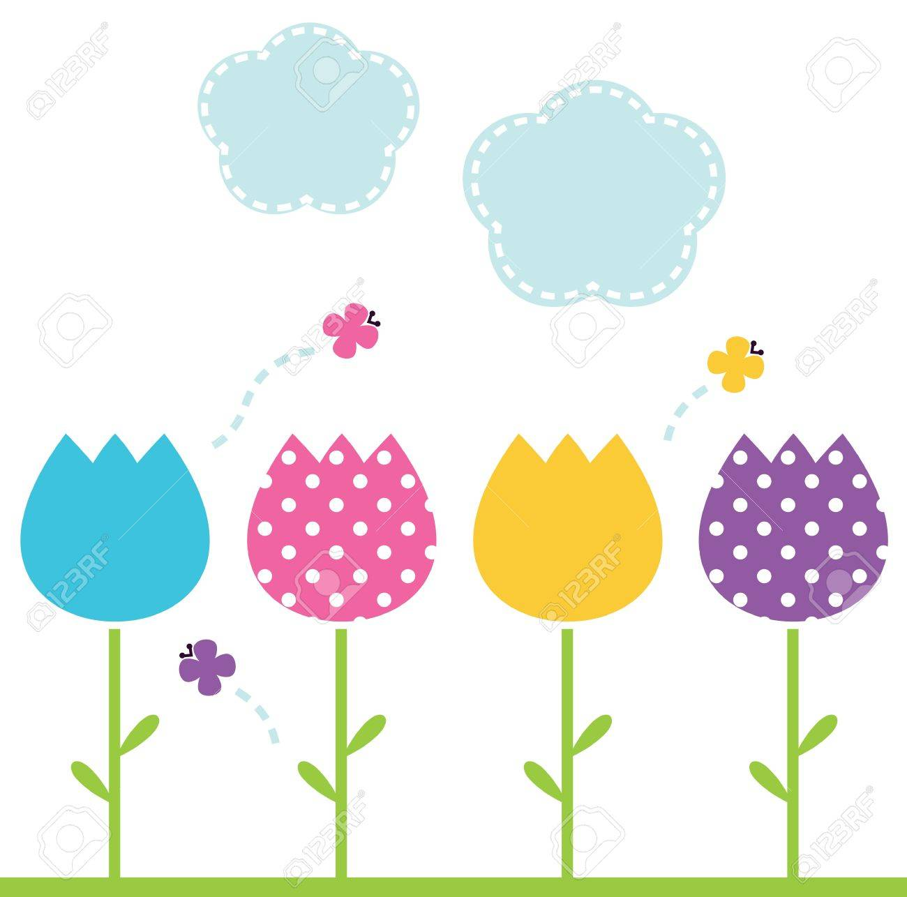 Row Of Tulips Clipart - Floral delivery
