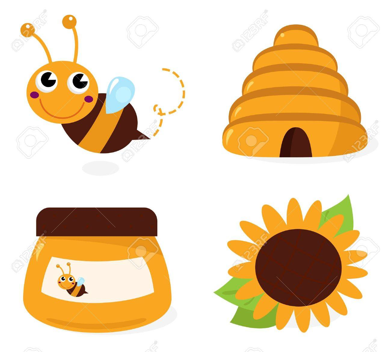 Cute Bee And Honey Set Cartoon Illustration