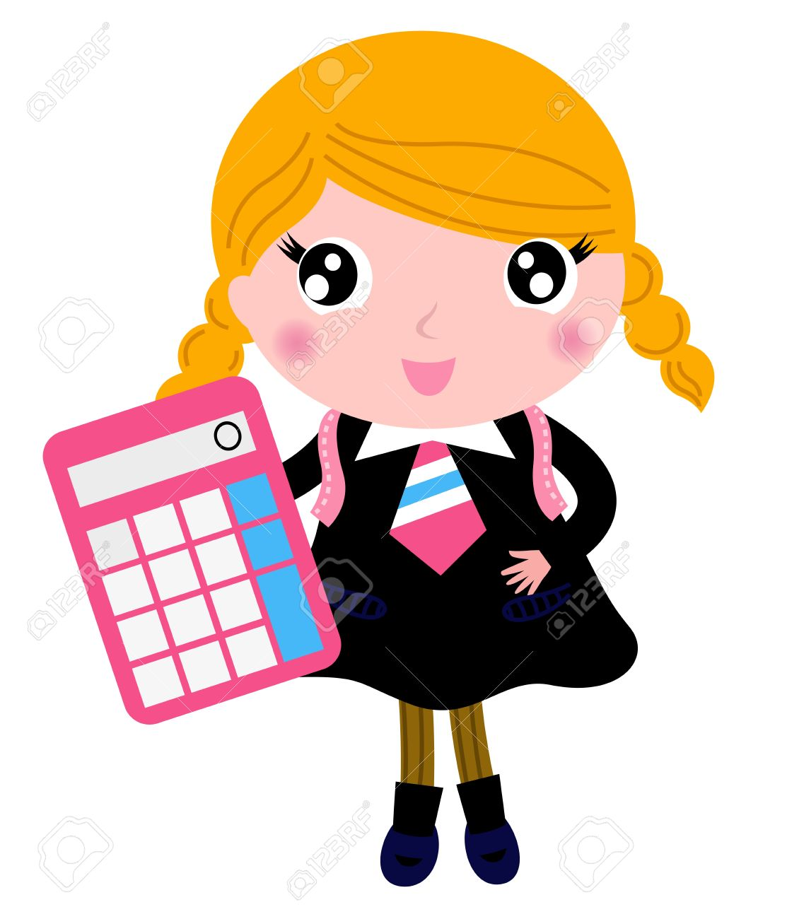 Cute Girl In School Uniform. Vector Cartoon Illustration Royalty ...