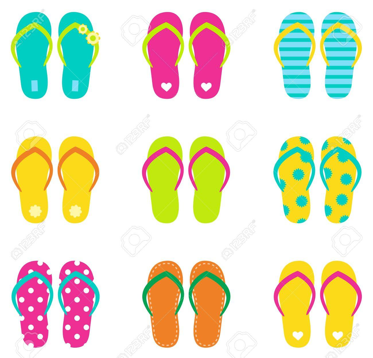Colorful summer flip flops collection isolated on white. Vector Stock Vector - 20044970
