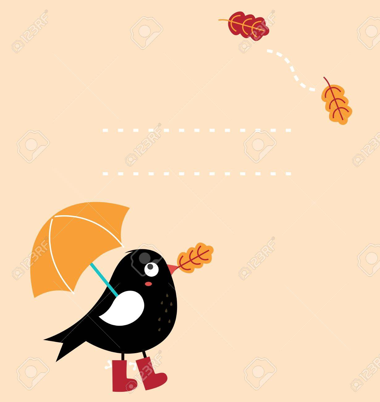 Autumn greeting Card with fallen leaves and black Bird with copy space. Vector Illustration Stock Vector - 21732910