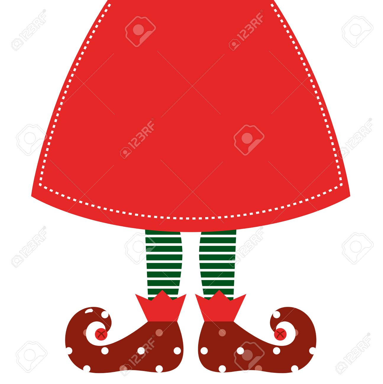 christmas elf legs with red skirt vector illustration royalty free rh 123rf com