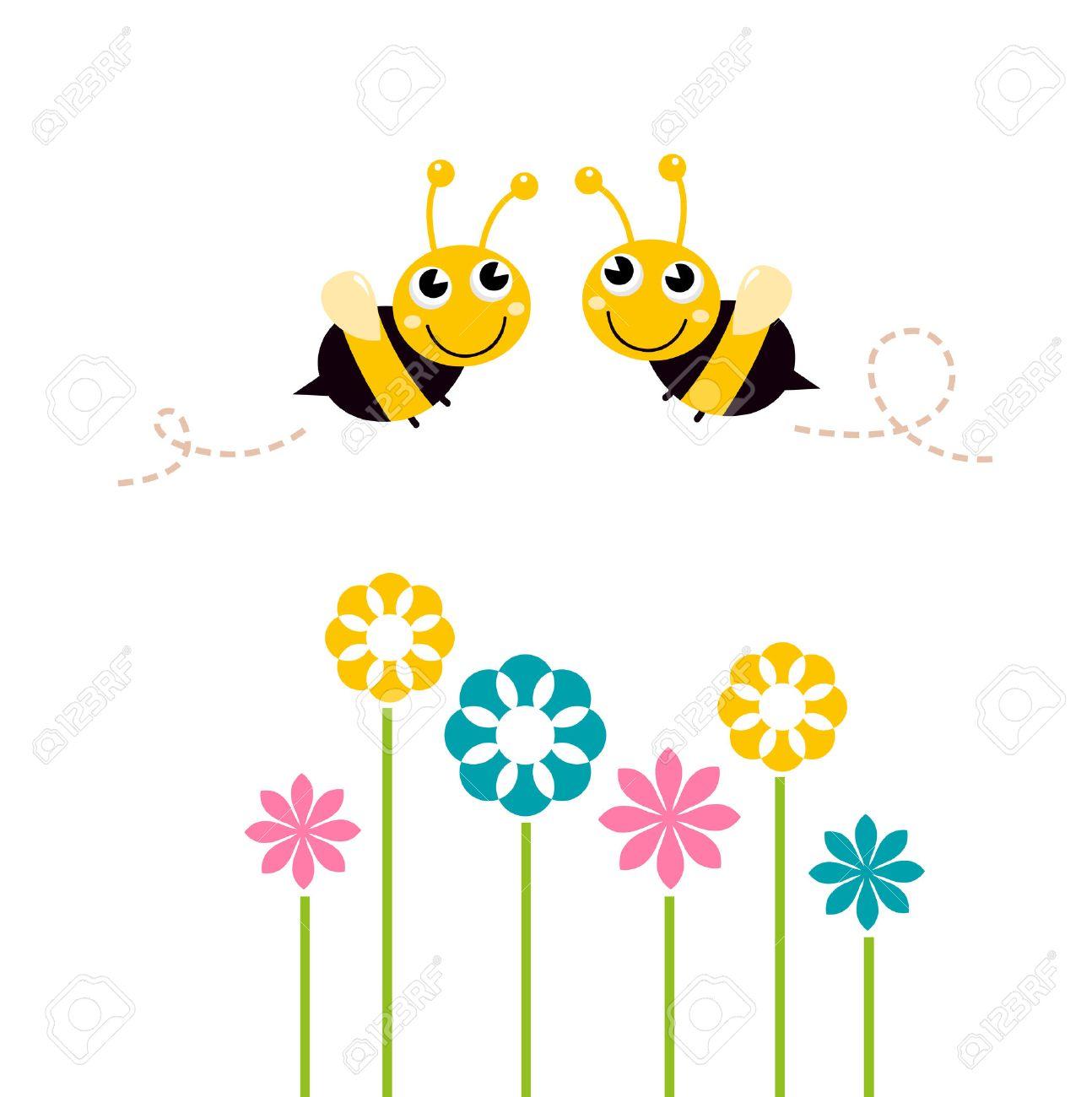 Les abeilles qui volent autour de belles fleurs Illustration Vecteur de  dessin animé Banque d\u0027