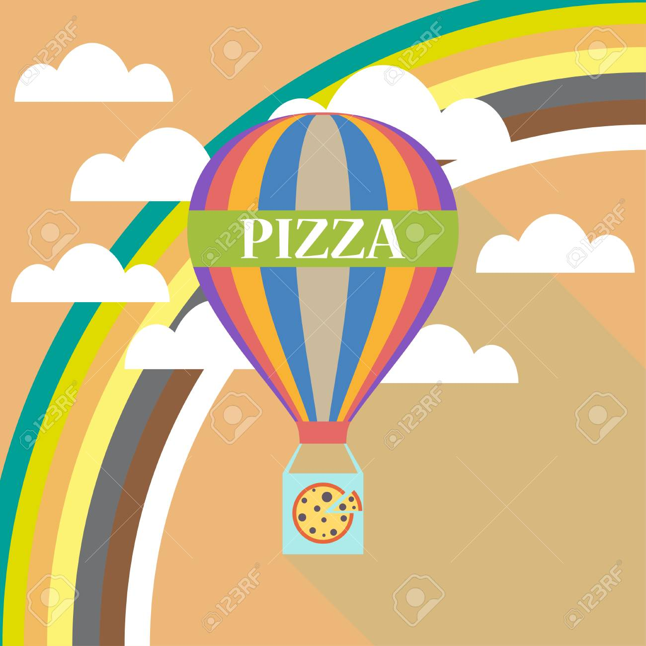 air balloon pizza delivery flat design royalty free cliparts