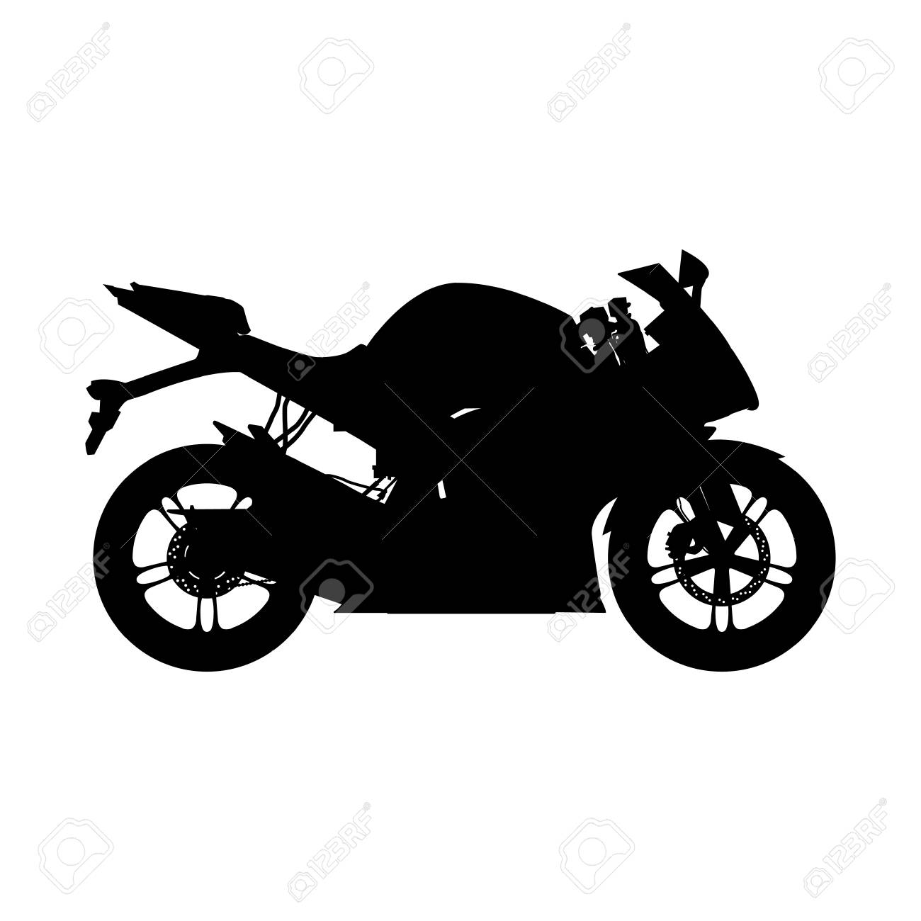 Motorcycle Silhouette Sport Bike Royalty Free Cliparts Vectors