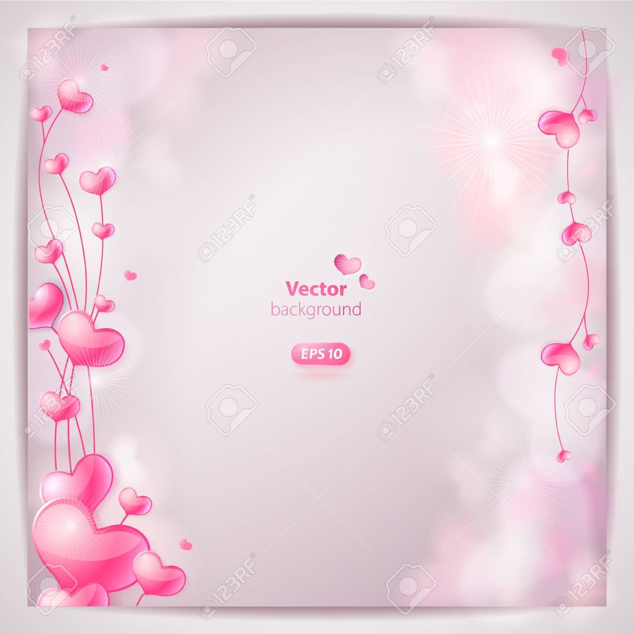 Card with hearts on light blurred background Stock Vector - 17689915