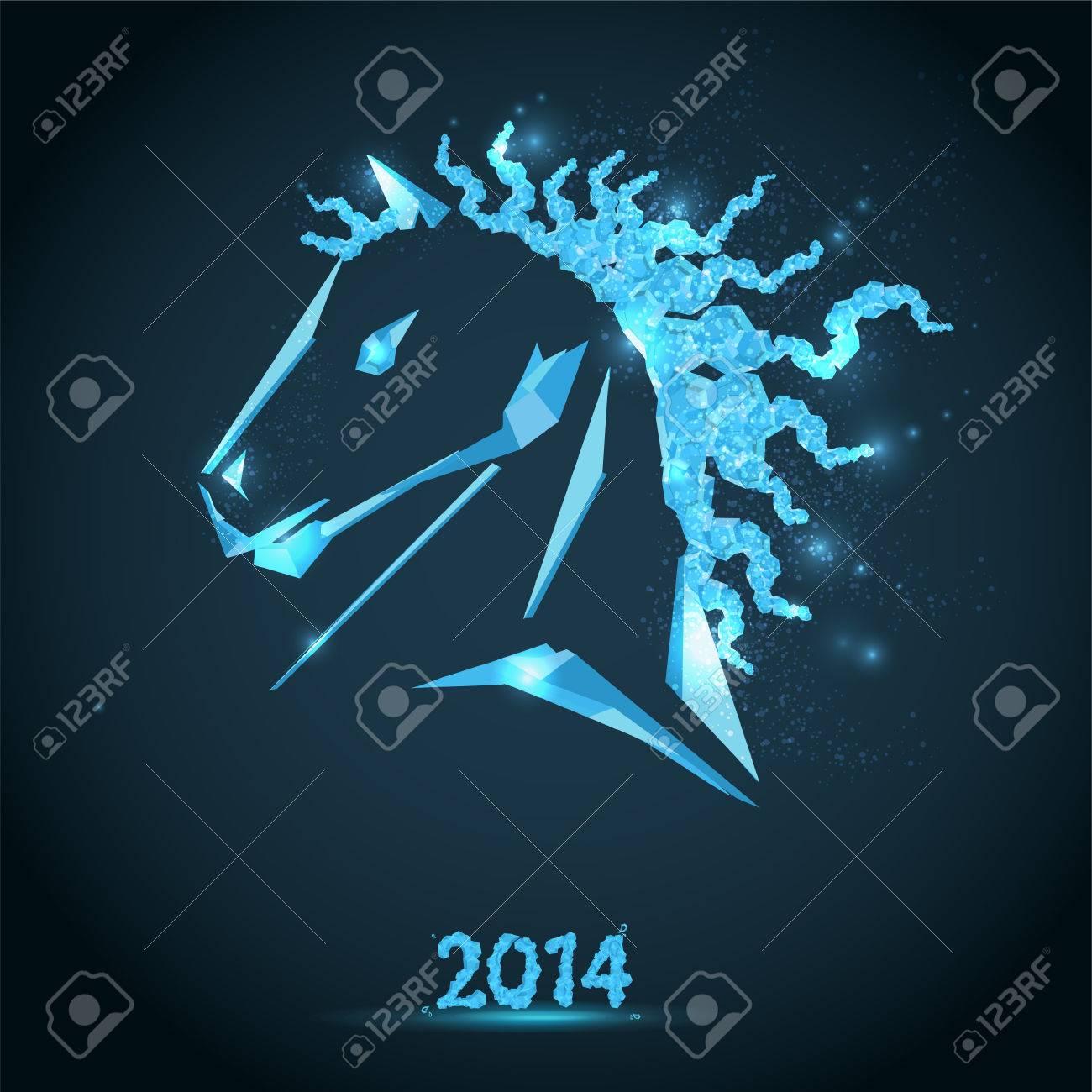 horse happy new year 2014 stock vector 25305852