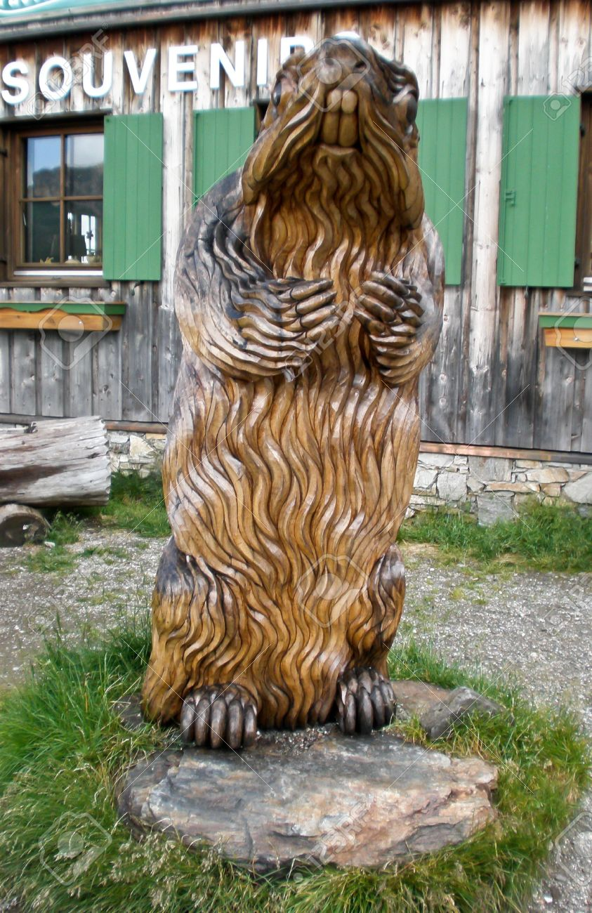 Large Wooden Sculpture Of Marmot,n The Garden Of The Gift Shop ...