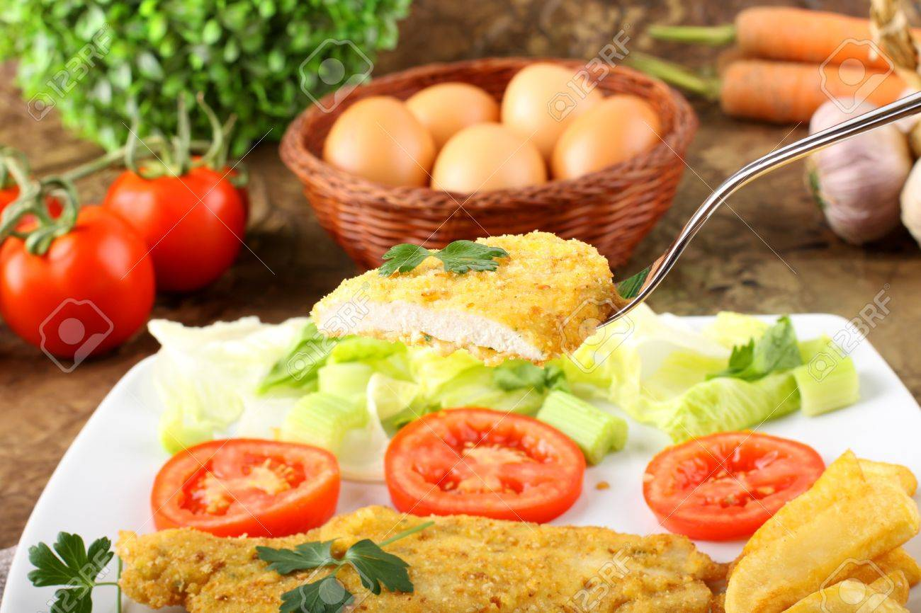 Chicken cutlet with salad on complex background Stock Photo - 15450967