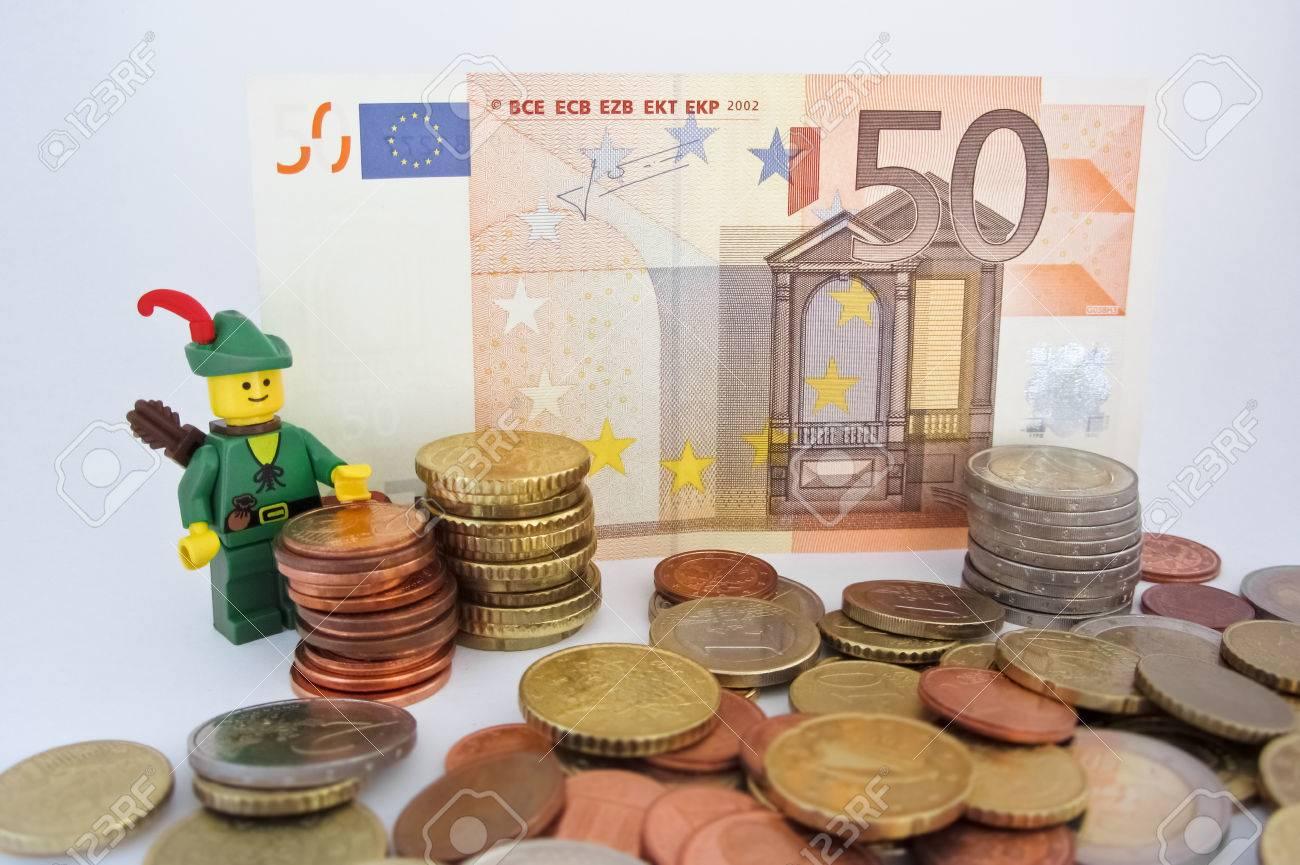 Venedig Italien 23 Oktober 2014 Robin Hood Stand 50 Euro Schein