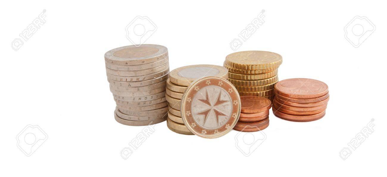 Stapel Von Euro Münzen Aus Malta Lizenzfreie Fotos Bilder Und Stock