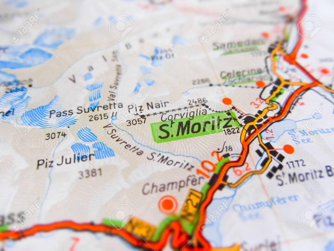 Svizzera Cartina Stradale.Immagini Stock St Moritz Citta Su Una Cartina Stradale Swiss Image 67703761