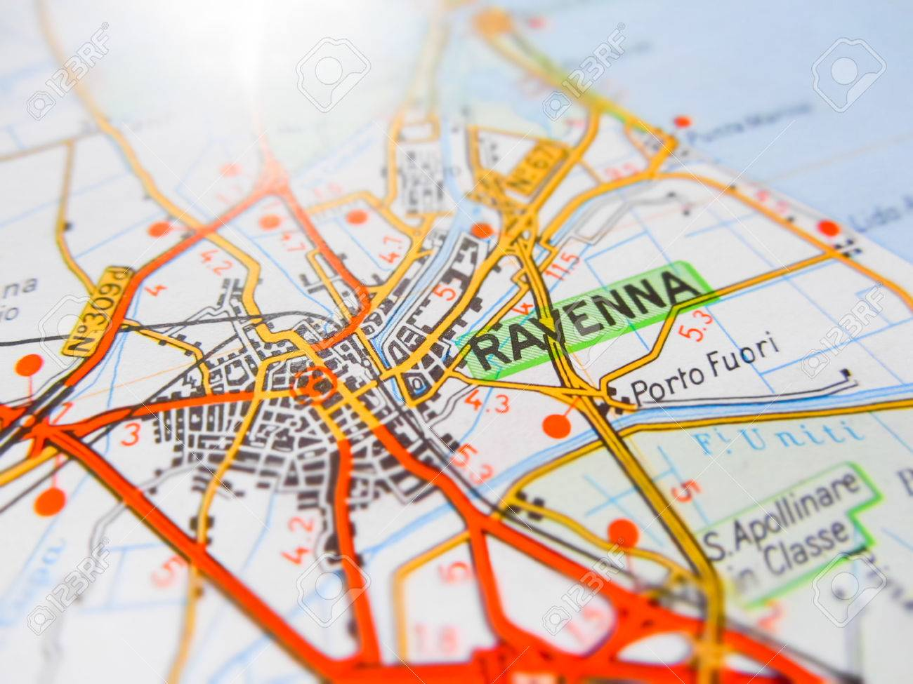 Ravenna City Over A Road Map ITALY Stock Photo Picture And