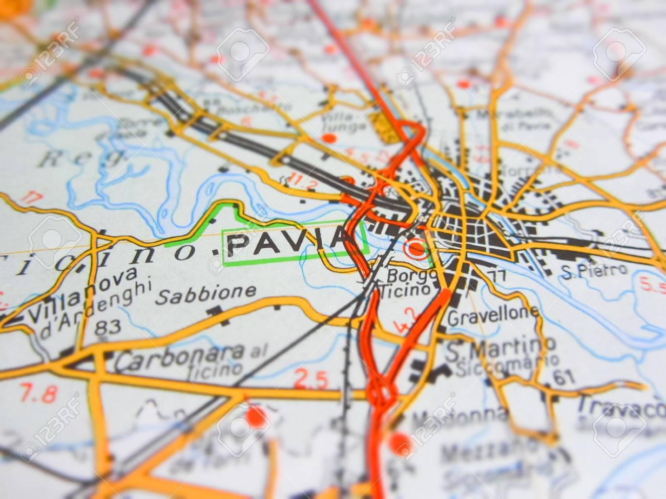 Cartina Stradale Di Italia.Immagini Stock Pavia Citta Su Una Cartina Stradale Italia Image 67703758