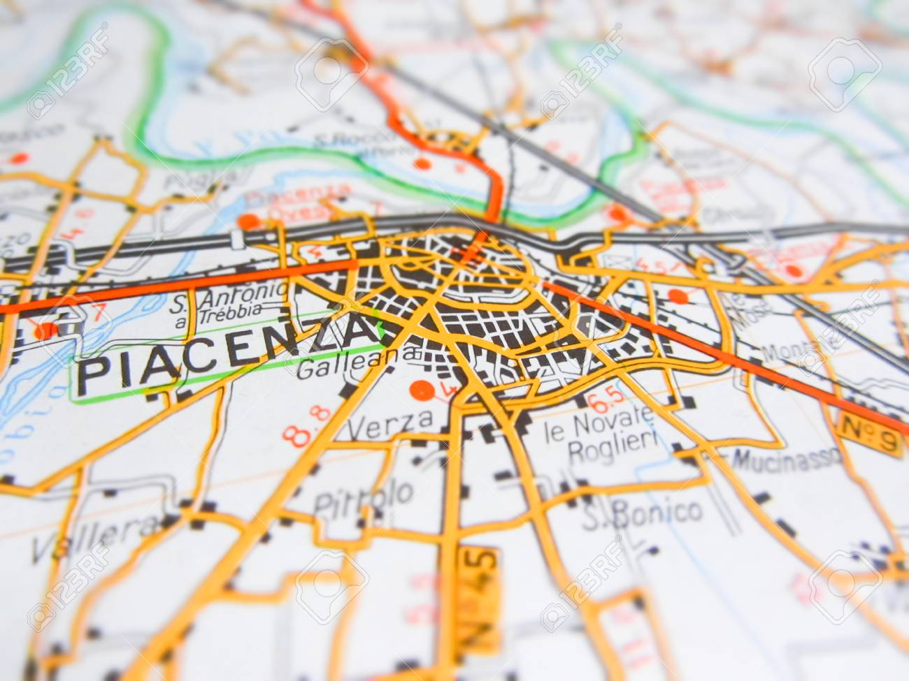 Piacenza City Over A Road Map Italy Stock Photo Picture And