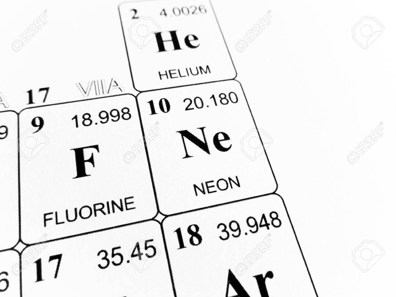 foto de archivo neon en la tabla peridica de los elementos
