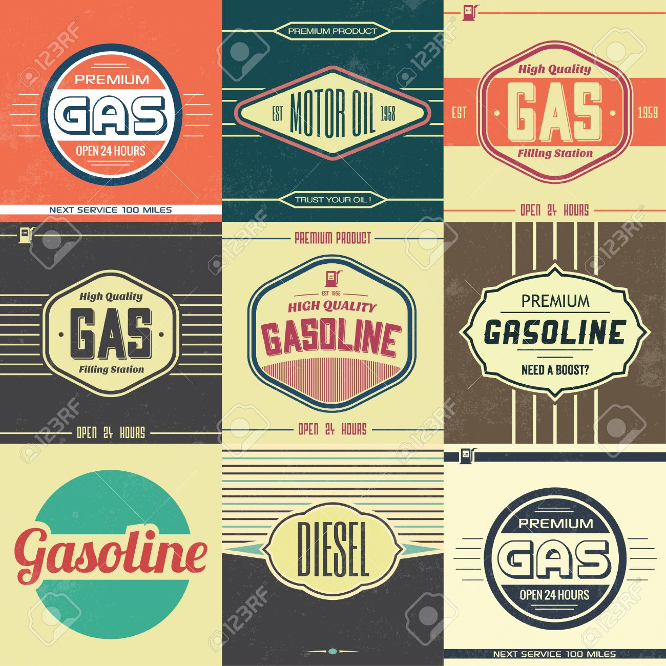 Collection of Retro Gasoline Signs Motor Oil Vintage Background