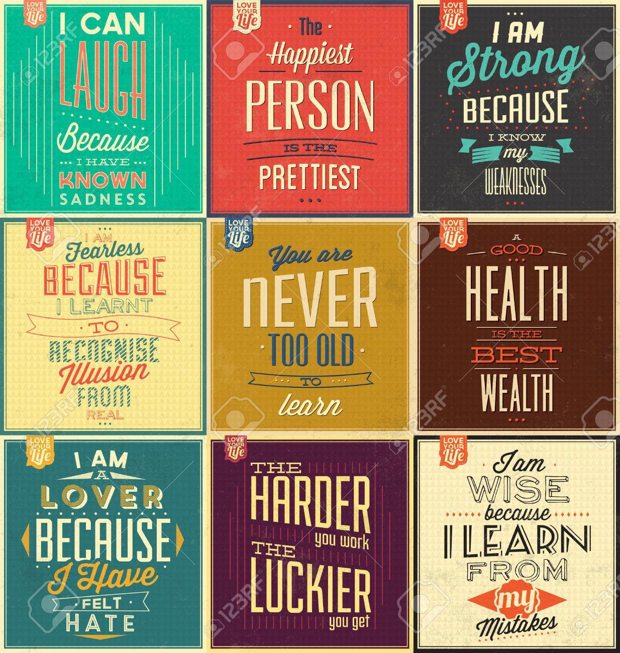 Reihe Von Vintage Typografische Hintergründe Motivation Zitate