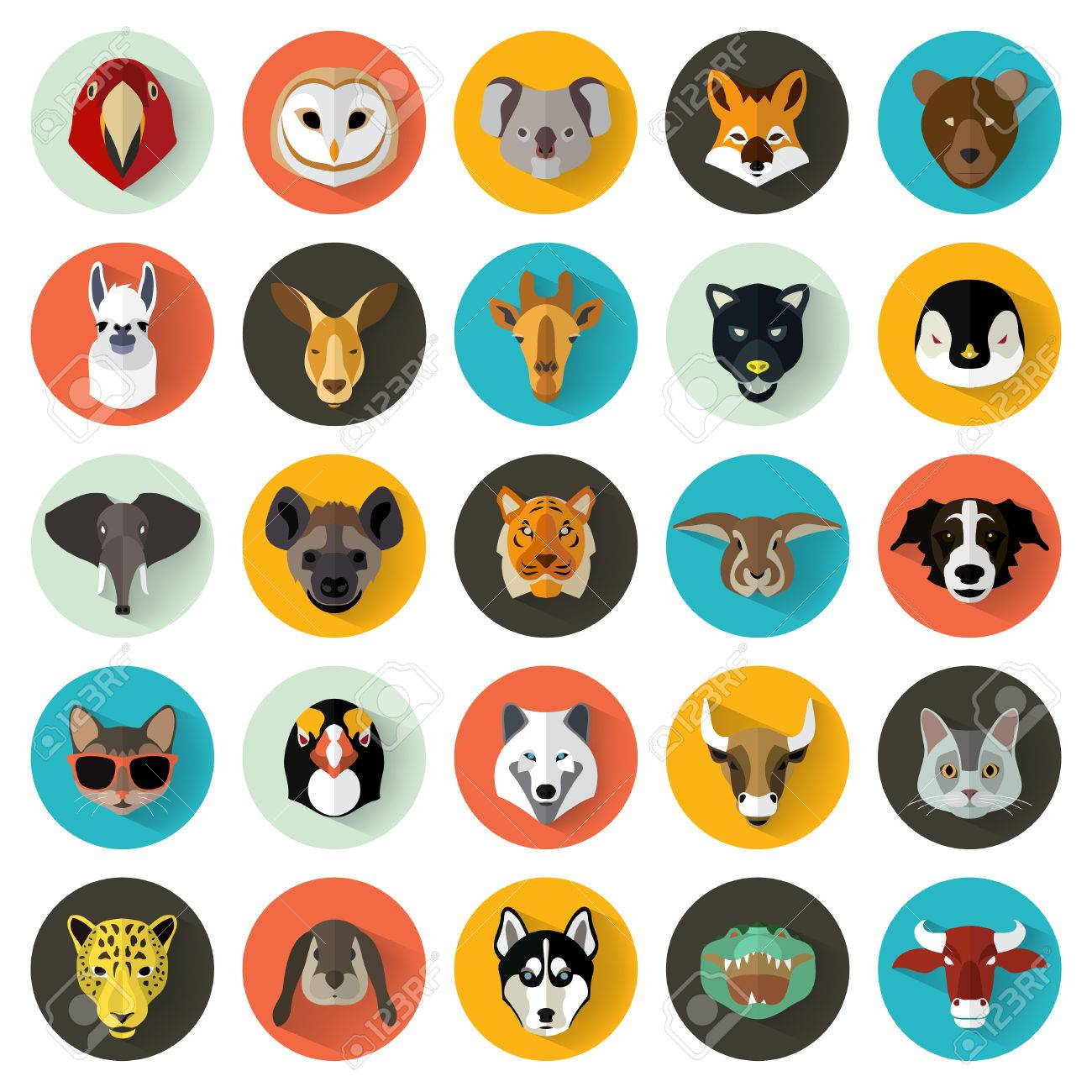 Animal Portrait Set with Flat Design / Vector Illustration - 53345018
