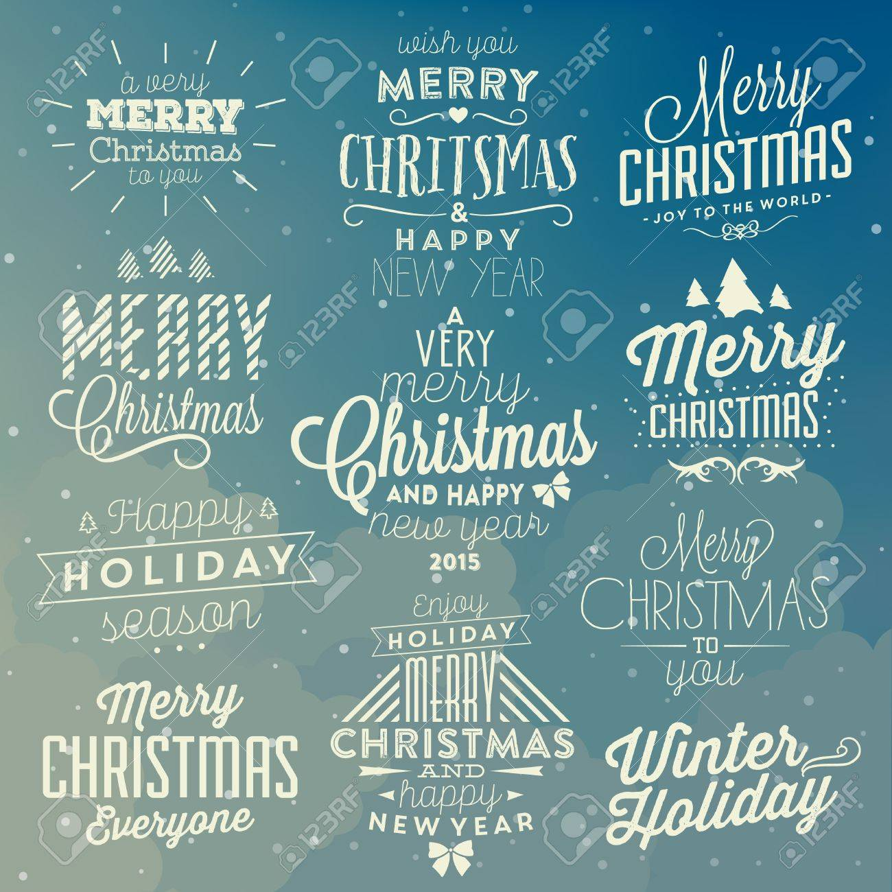 Christmas Typographic Background Set / Merry Christmas And Happy New Year - 53344892