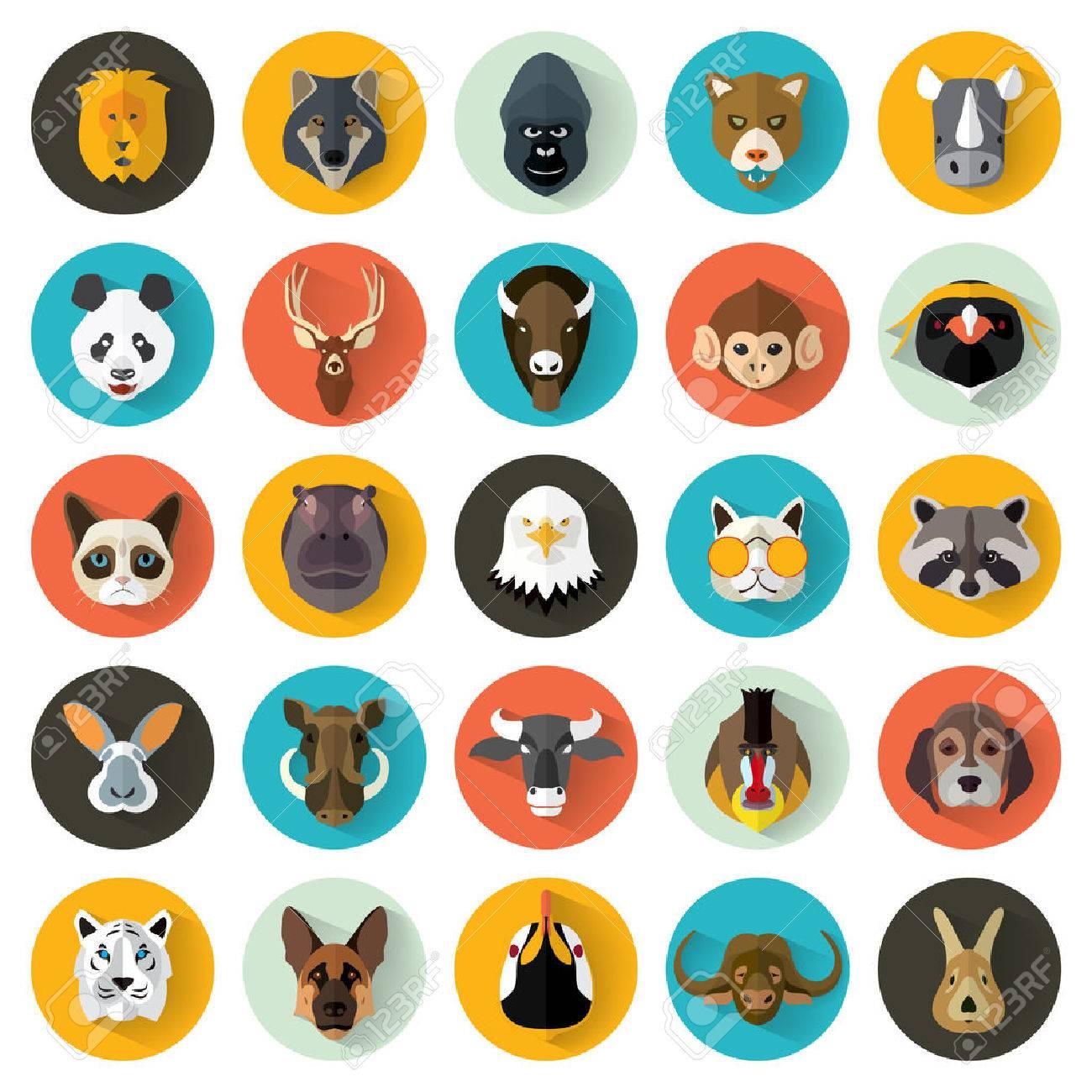 Animal Portrait Set with Flat Design / Vector Illustration - 53347420