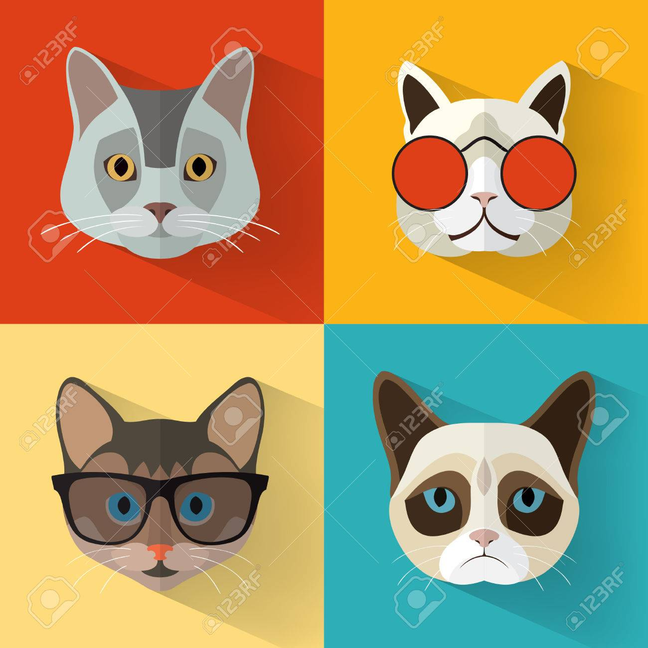 Animal Portrait Set with Flat Design/ Cat Collection / Vector Illustration Archivio Fotografico - 53348538