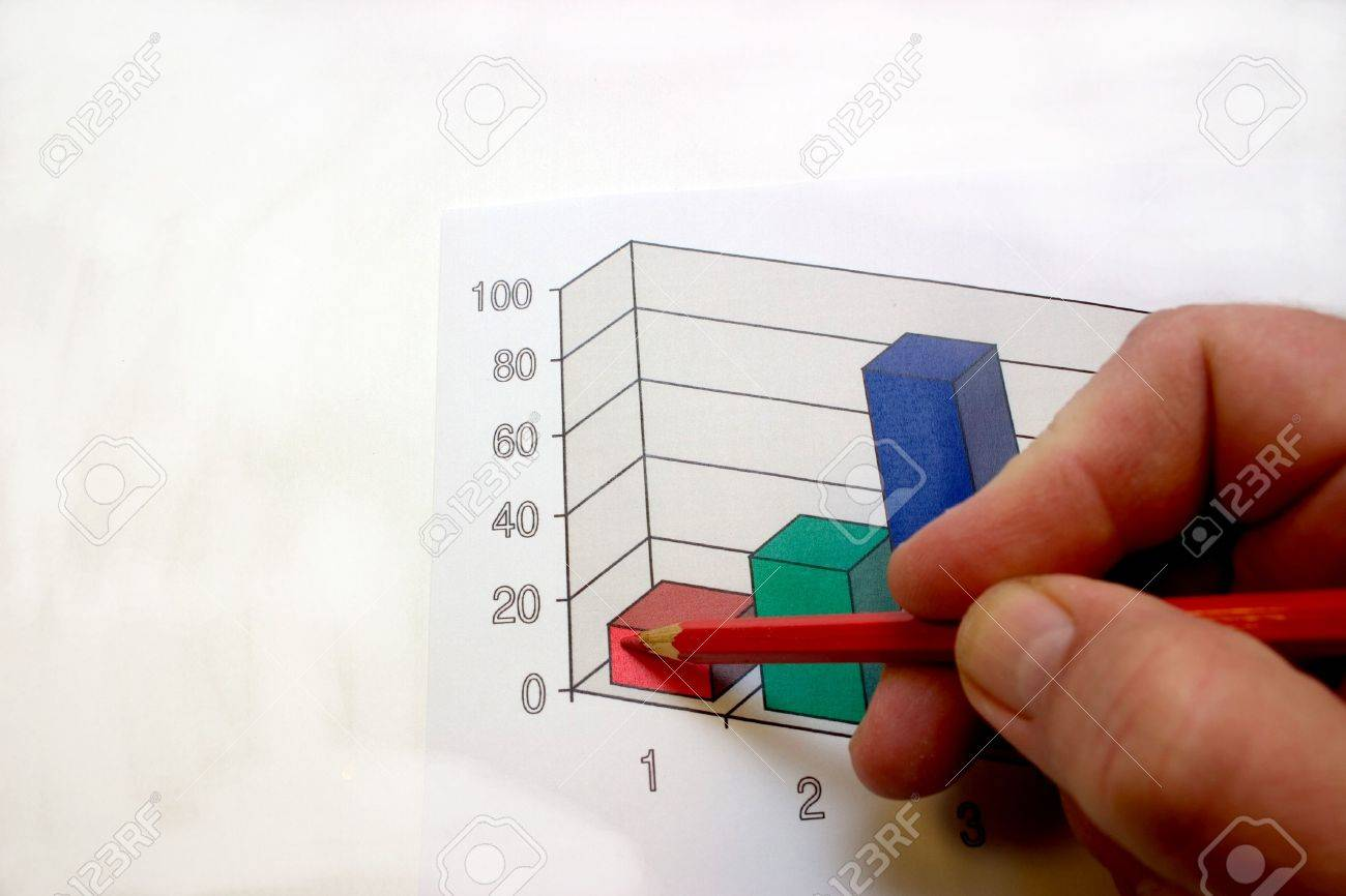 hand with a ball-point pen, noting on a diagram - 2175586